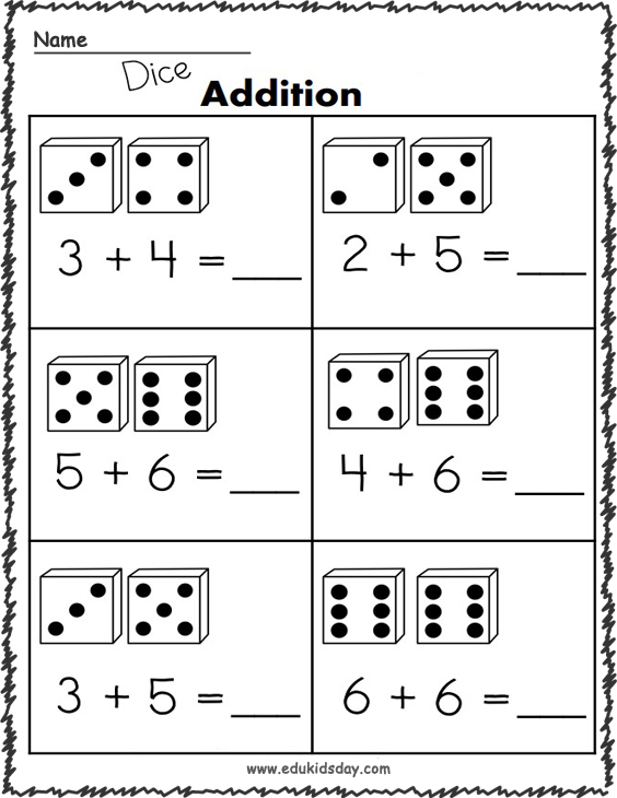 Addition Worksheets - 1 Digit with Dice