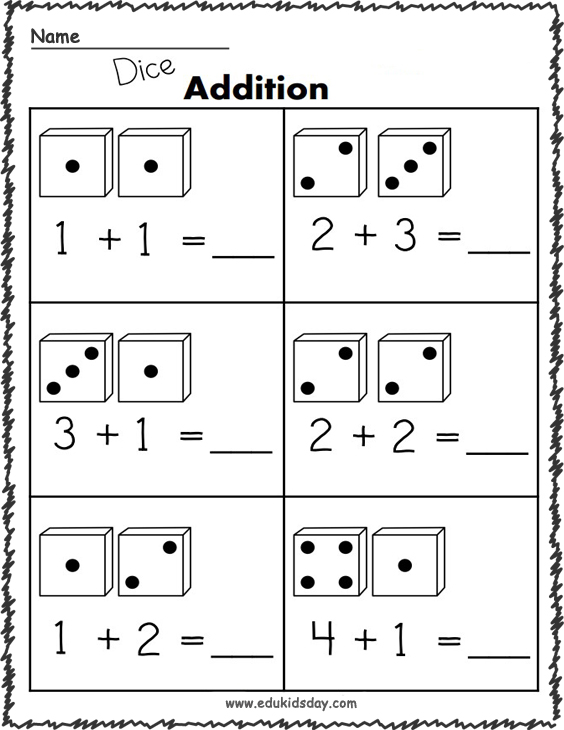 1 Addition Worksheets with Dice
