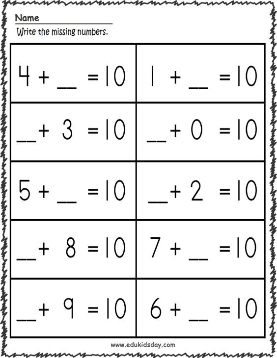 1 Digit Addition Math - Missing Addends