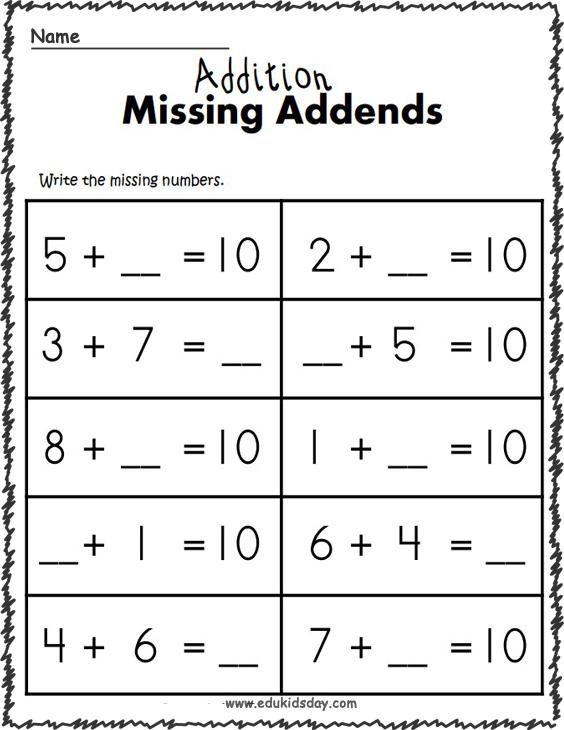 1 Digit Addition Math Worksheets - Missing Addends