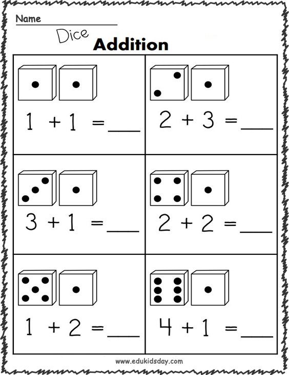 1 Digit Addition Worksheets - Using Dice
