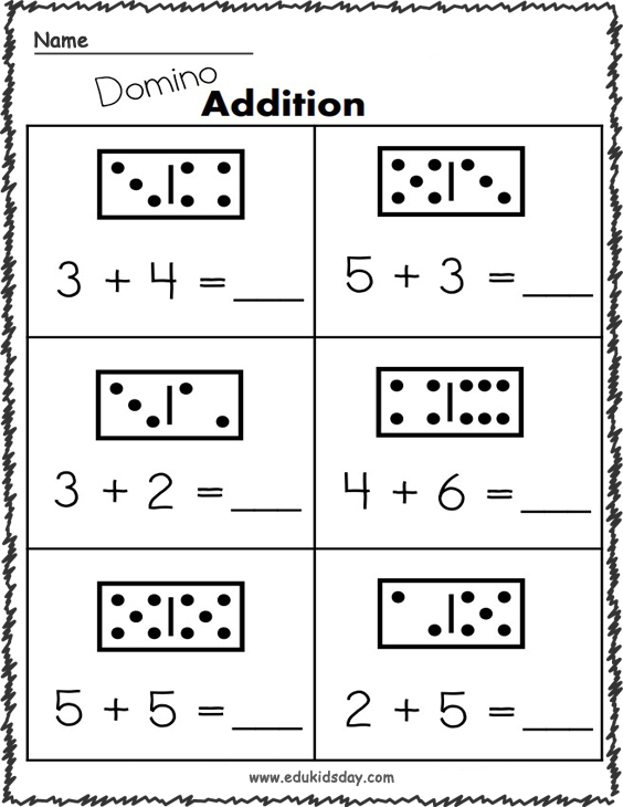 Addition Worksheets - 1 Digit with Domino