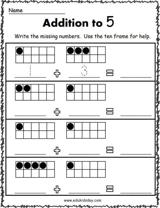 Addition Worksheets for Kindergarten - Up to 5