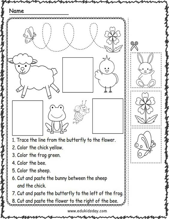 Printable Spring Following Directions orksheets
