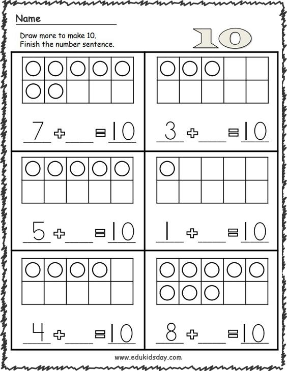Kindergarten Math - Addition Make 10 Worksheets