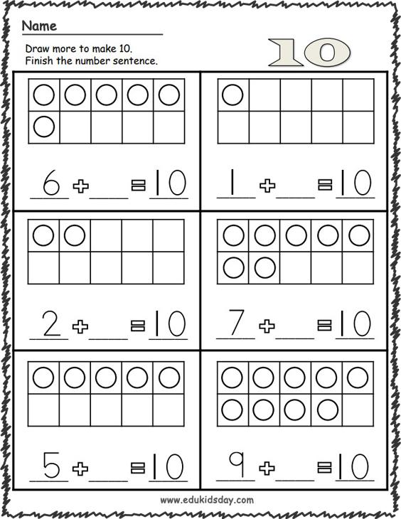 Kindergarten Math - Make 10 Worksheets