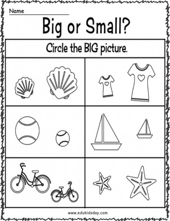 Kindergarten Worksheet For Big And Small and Comparing Size