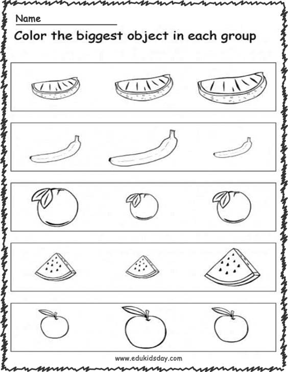 Kindergarten Worksheet For Big And Small and Color Small Fruits