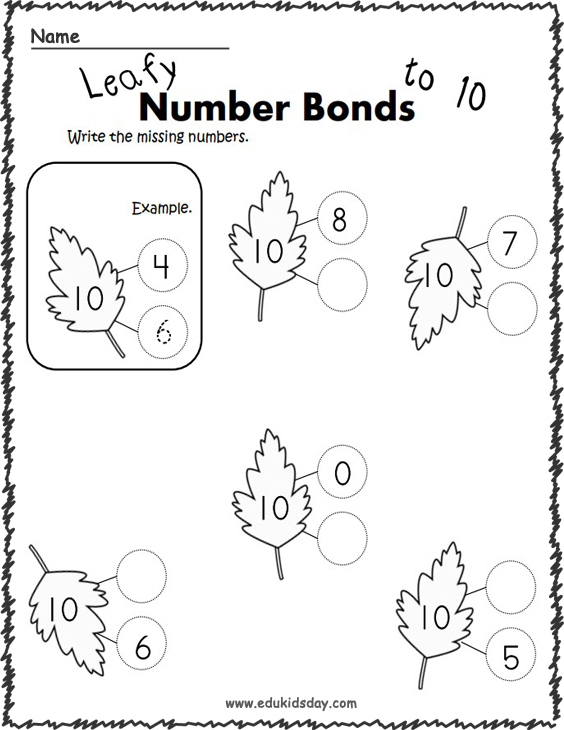 Number Bonds Practice Worksheets