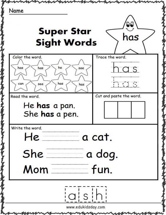 Free Sight Word Worksheets (has)