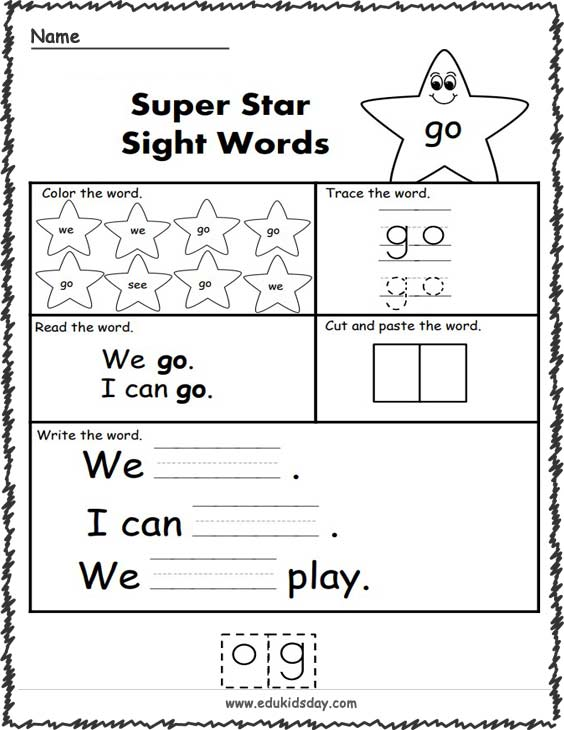 Free Sight Word Worksheets (go)