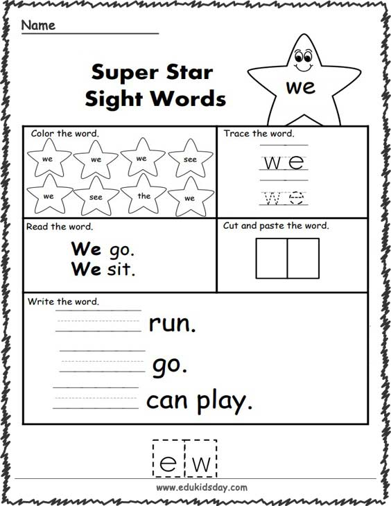 Free Sight Word Worksheets (we)