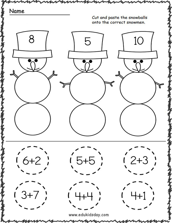 Snowman Addition Worksheet for Kindergarten