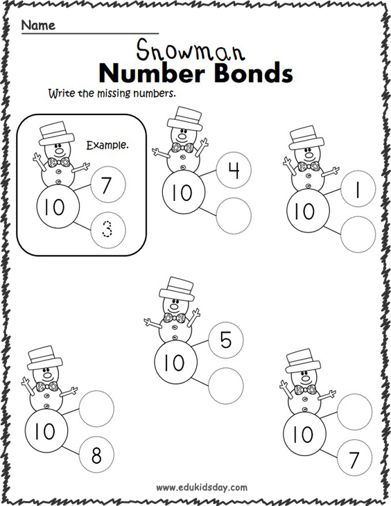 Winter Addition to 10 - Number Bonds Worksheets