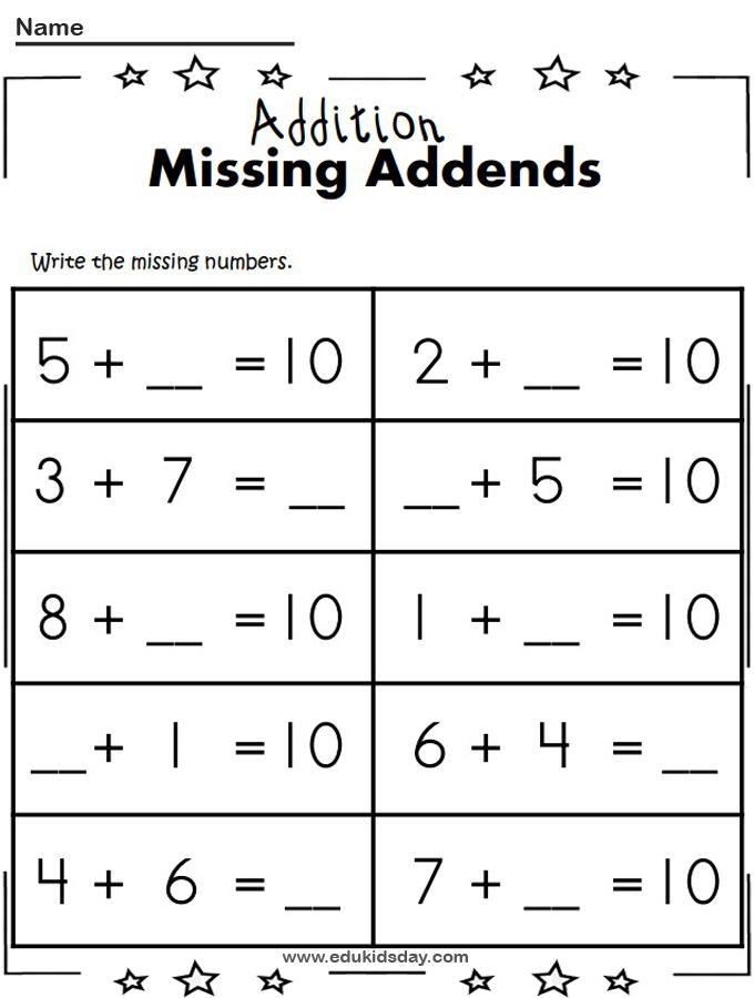 Free 1 Digit Addition Math Worksheet Missing Addends
