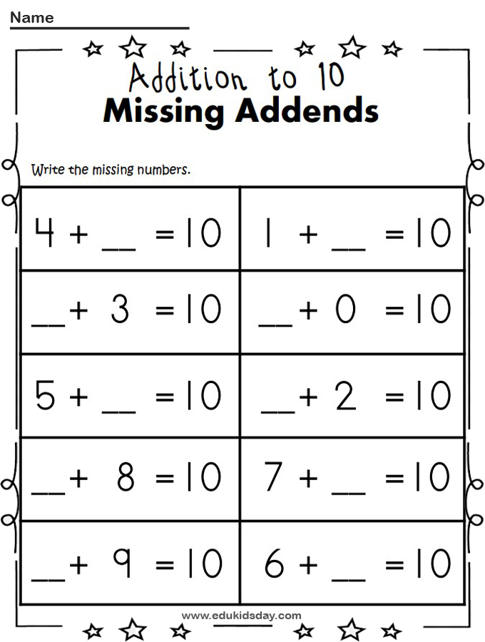 Free Cut and Paste Addition Worksheet Missing Addends
