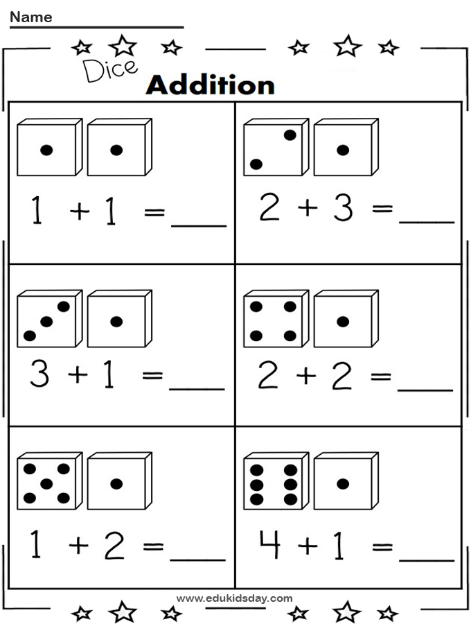 Free 1 Digit Addition Worksheet Using Dice