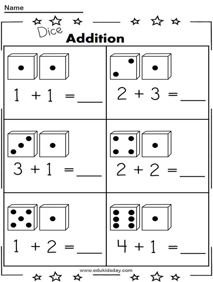 Free 1 Digit Addition Worksheet Using Dice