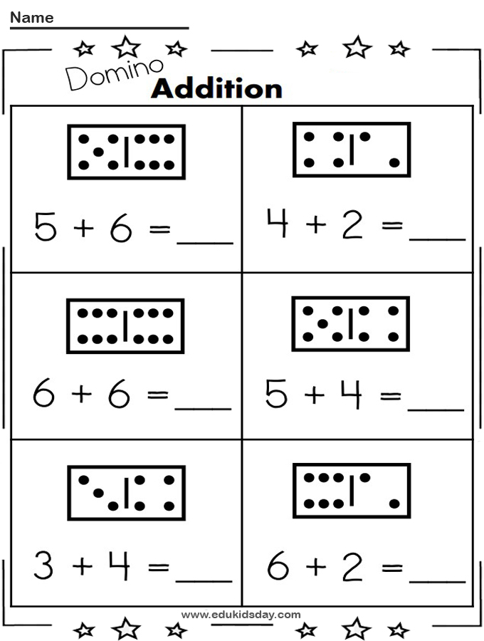 Free 1 Digit Printable Math Worksheet with Dominos