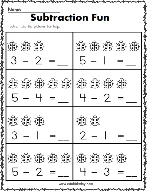 Free 1 Digit Subtraction Math Worksheet