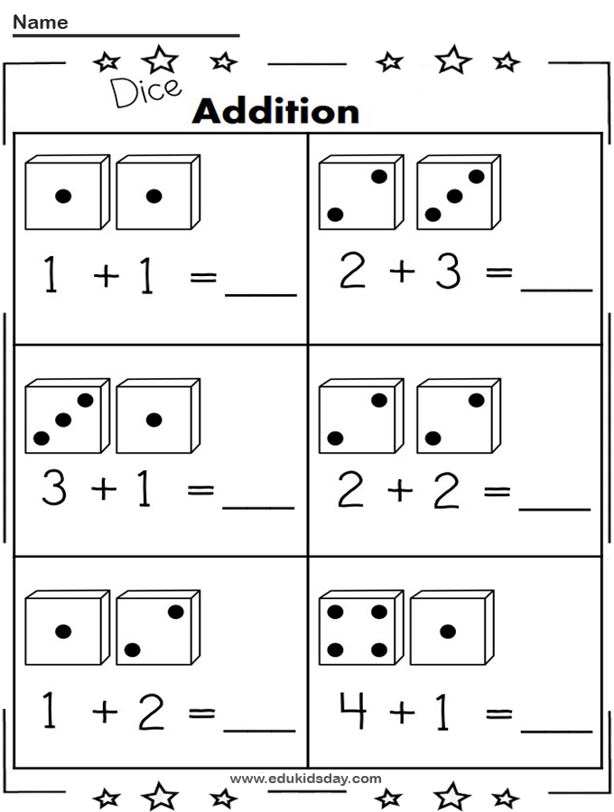 Free Addition Worksheet 1 Digit With Dice