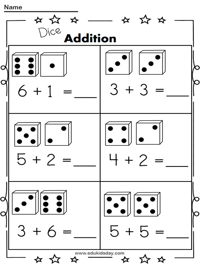 Free Addition Printable 1 Digit With Dice