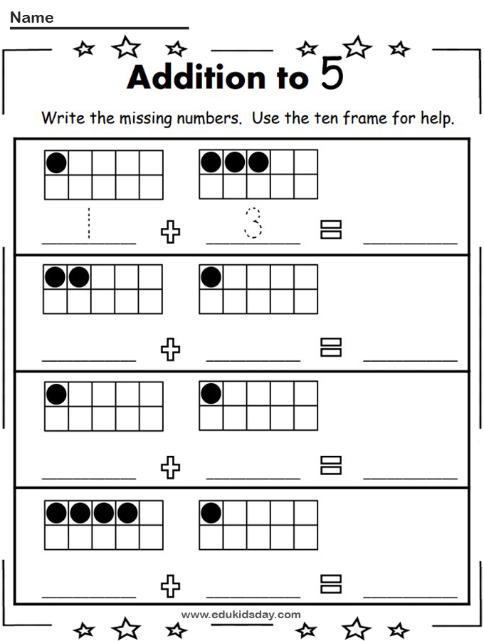 Free Addition Worksheets For Kindergarten Up to 5