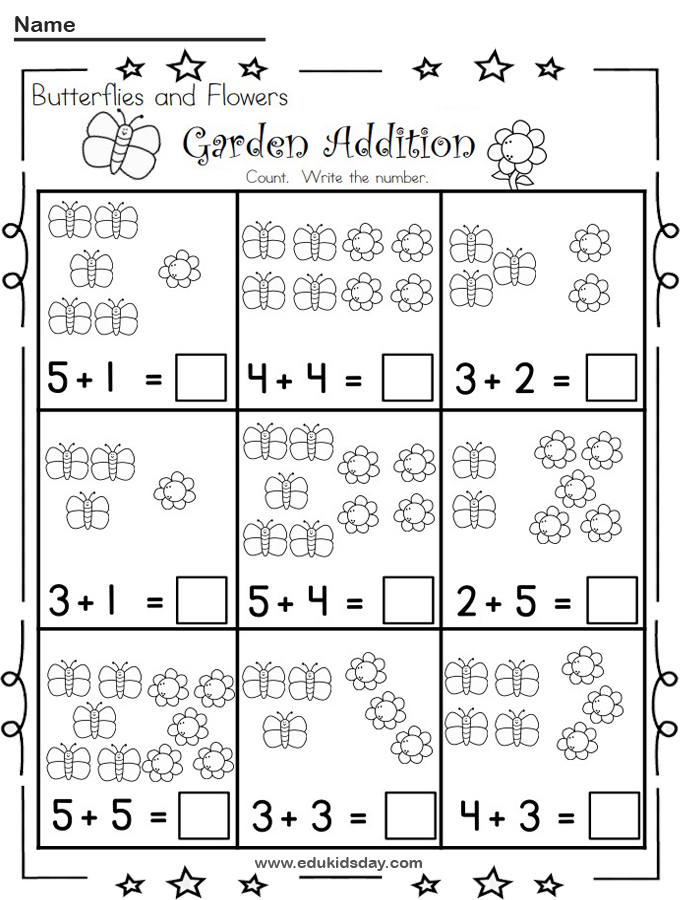 Free Butterfly Garden Picture Addition Worksheets