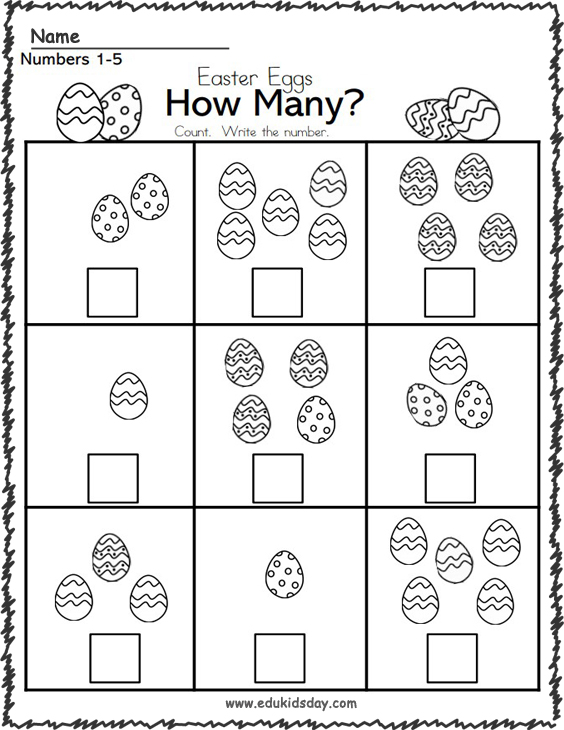 Free Easter Math Number Counting Worksheet 1 to 5