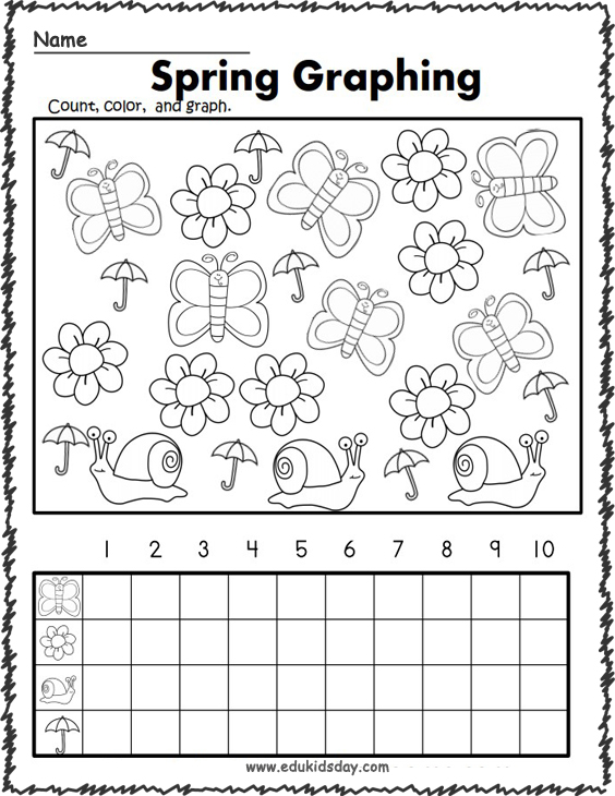Free Kindergarten Graphing Worksheet for Spring