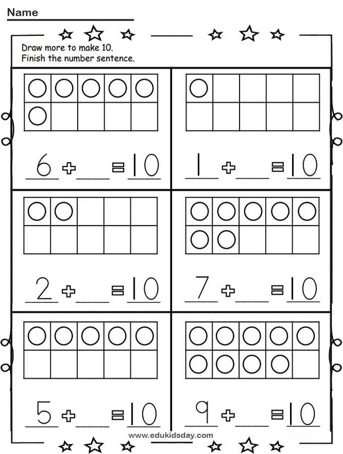 Free Kindergarten Math Addition Let's Make 10 Worksheet