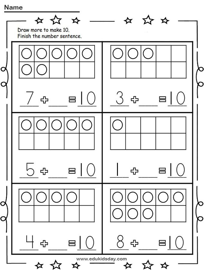 Free Kindergarten Math Addition Make 10 Worksheet
