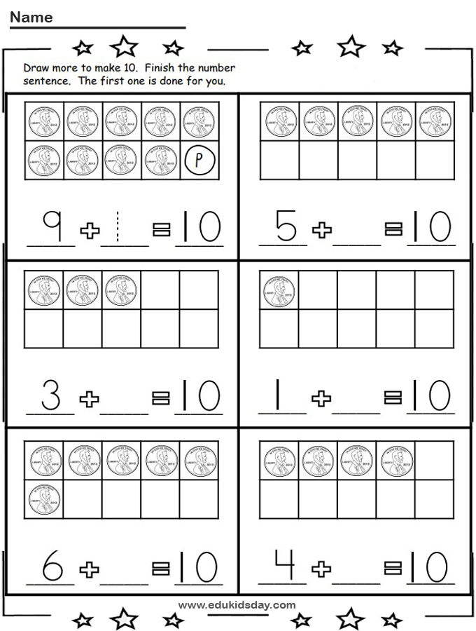 Free Penny Addition 1 Digit Let's Make 10 Worksheet