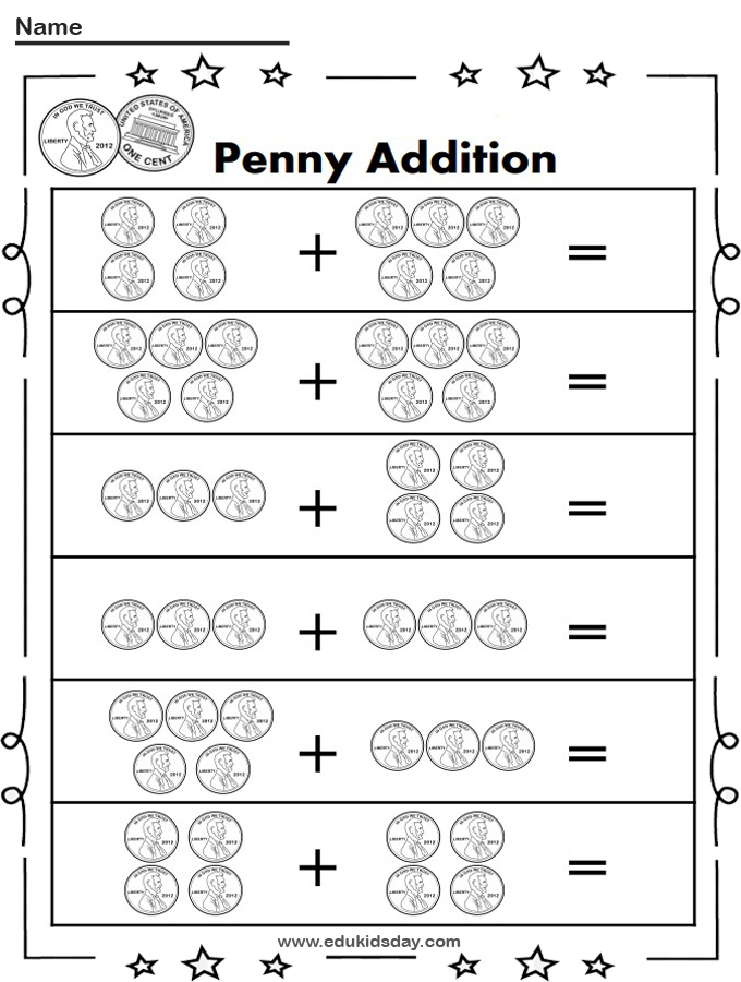 Free Penny Addition Up to 10 With Pennies