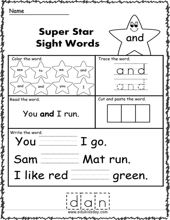 Free Sight Word Practice - And