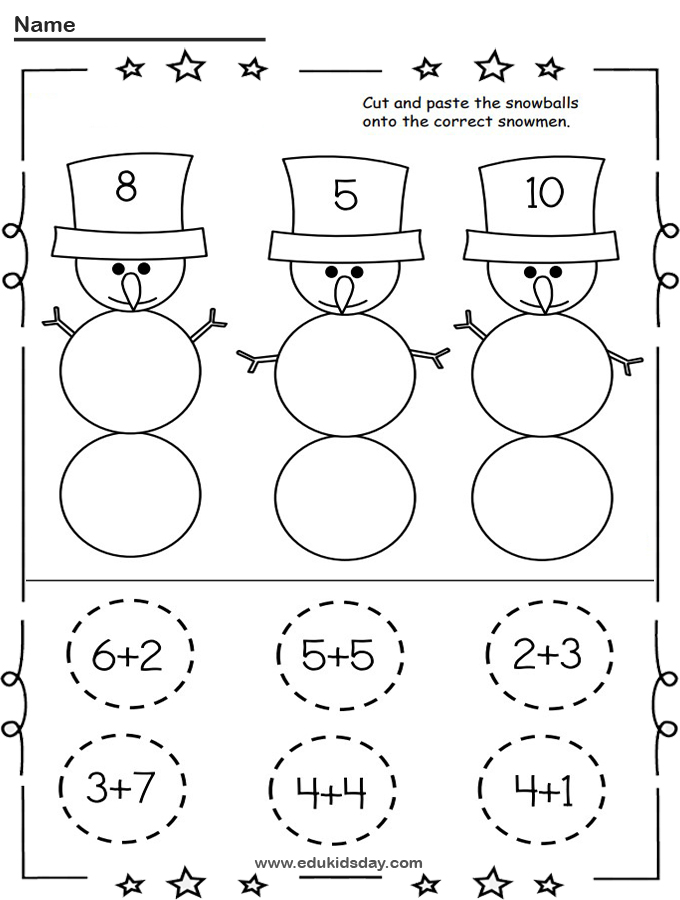 Free Snowman Addition Cut and Paste Worksheet for Kindergarten