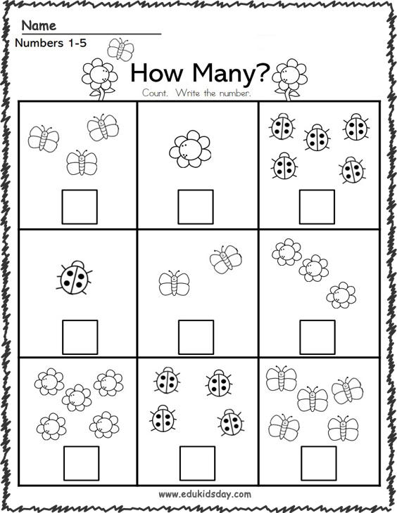 Free Spring Math Number Counting Worksheet 1 to 5