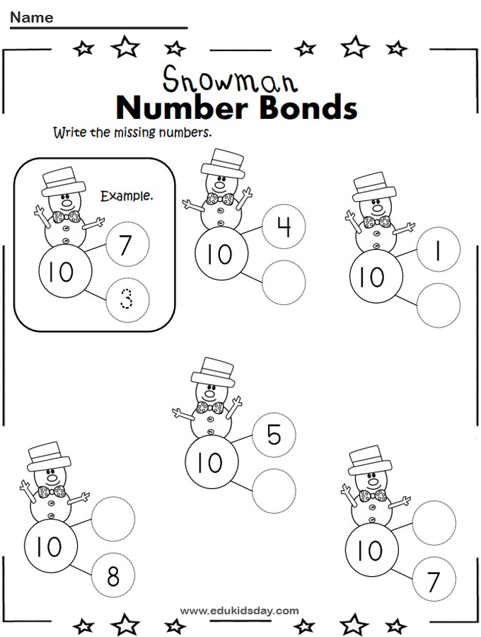 Free Winter Addition to 10 Number Bonds