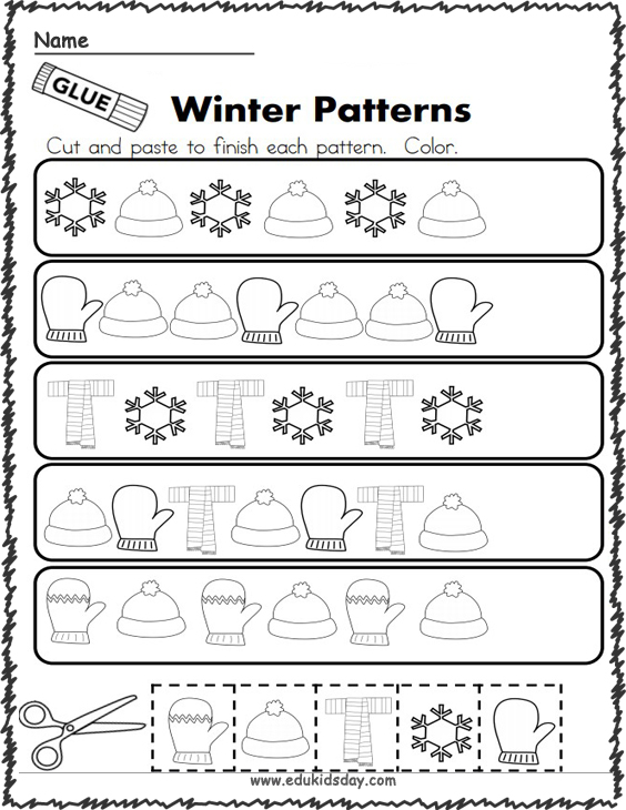 Free Winter Math Patterns Cut and Paste