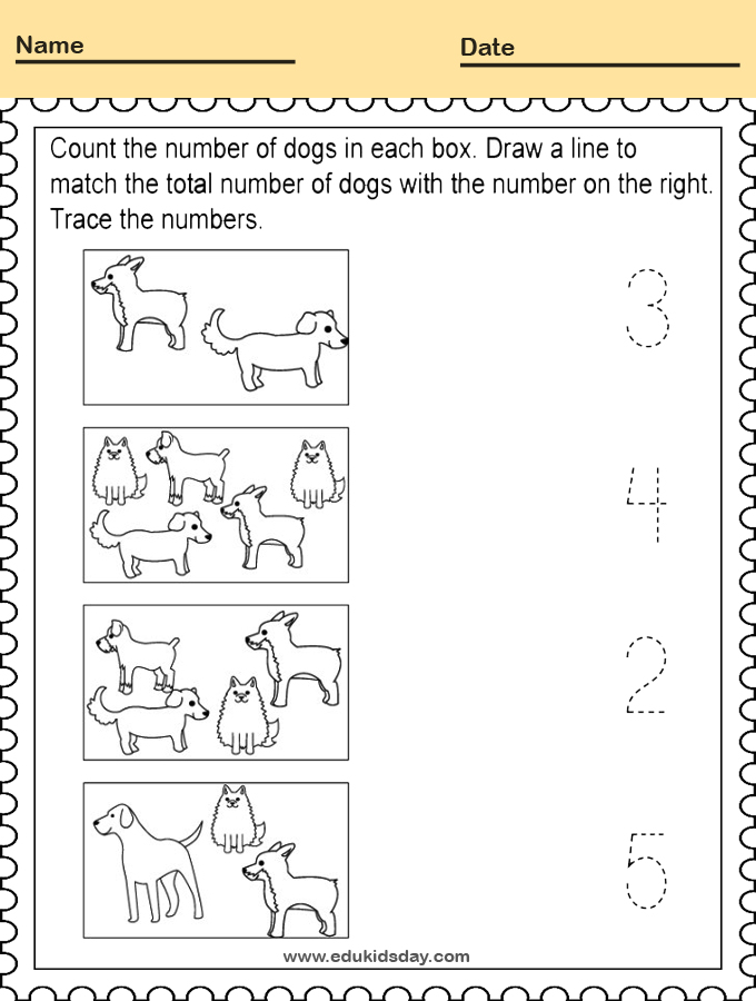 Counting Dogs Worksheet for Kindergarten