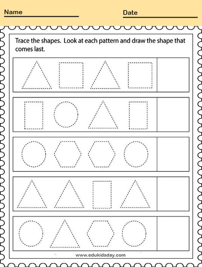 Geometry Patterns Worksheet for Kindergarten