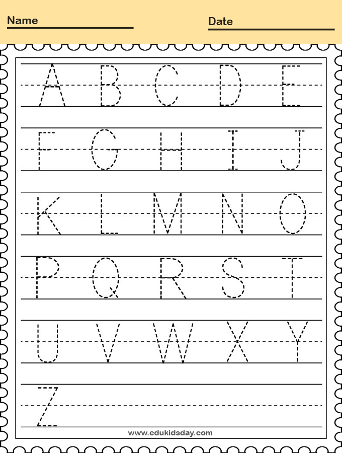 Handwriting Practice Worksheet for Kindergarten Kids