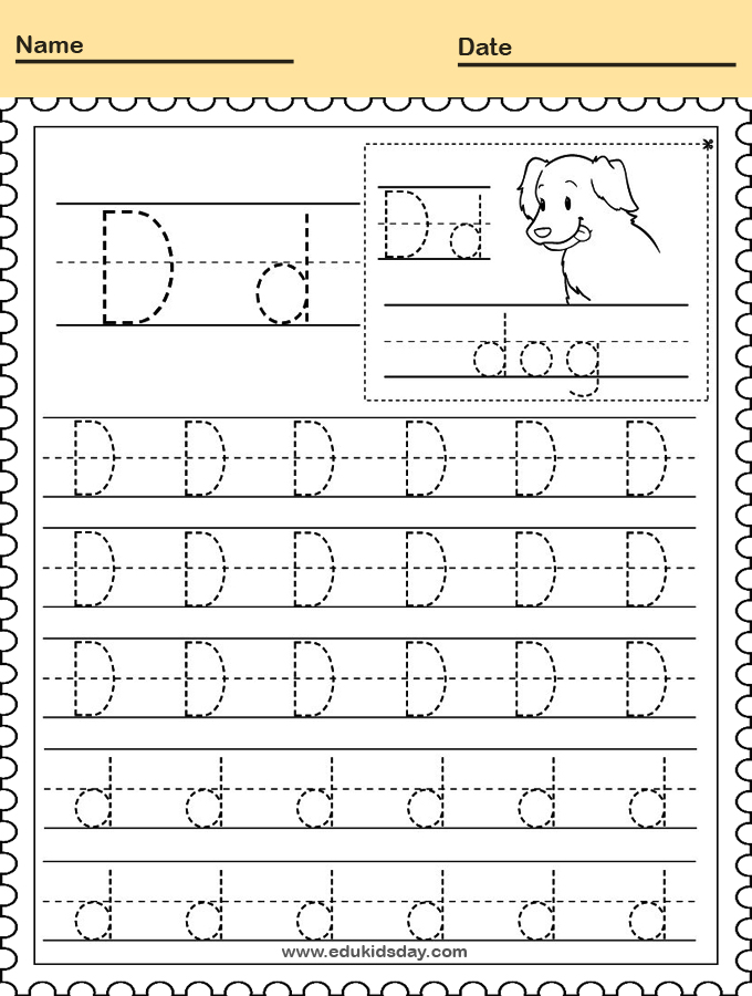 Letter D Writing Practice Worksheet for Kindergarten Kids