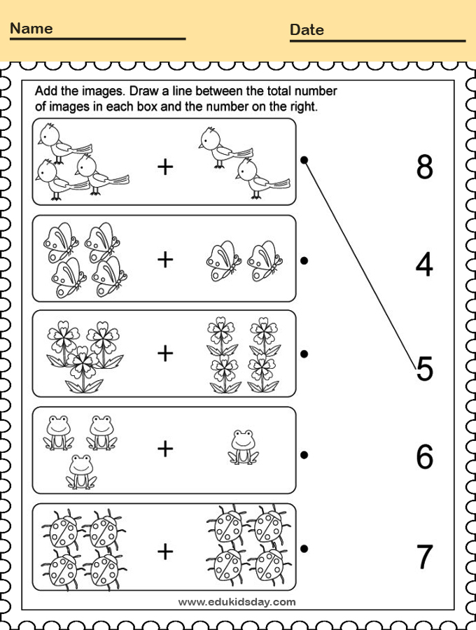Picture Addition Worksheet for Kindergarten