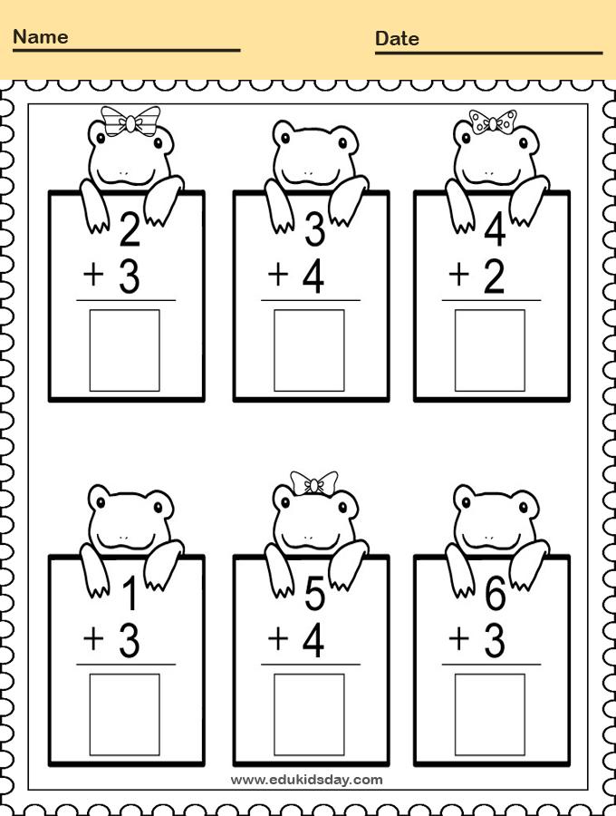 Practice Adding Math Worksheet for Kindergarten