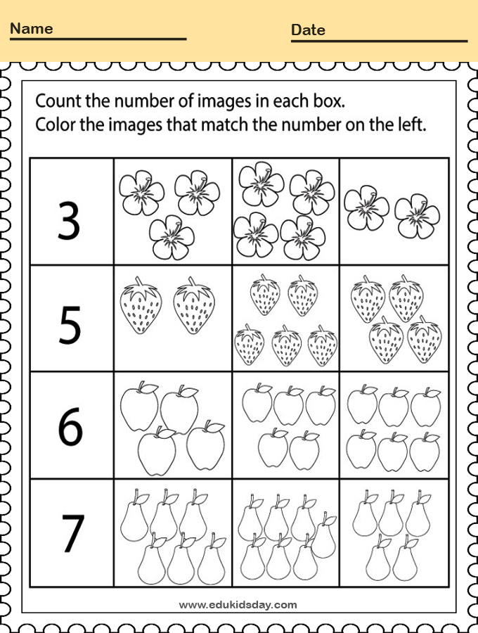 Printable Numbers Worksheet for Kindergarten