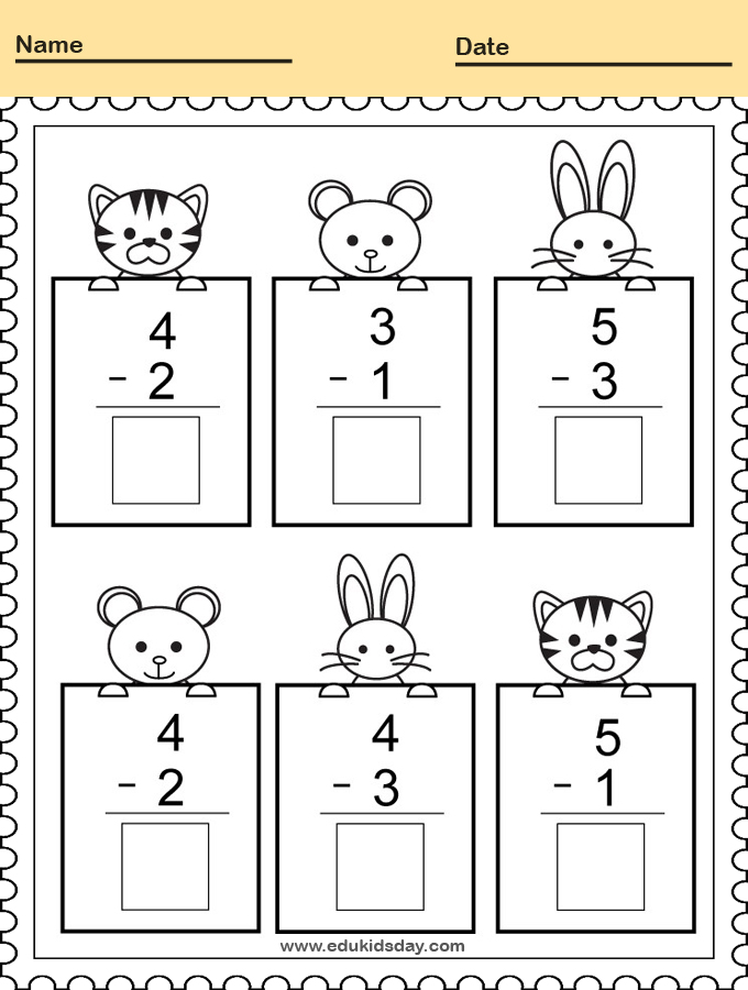 Subtracting Math Practice Worksheet for Kindergarten