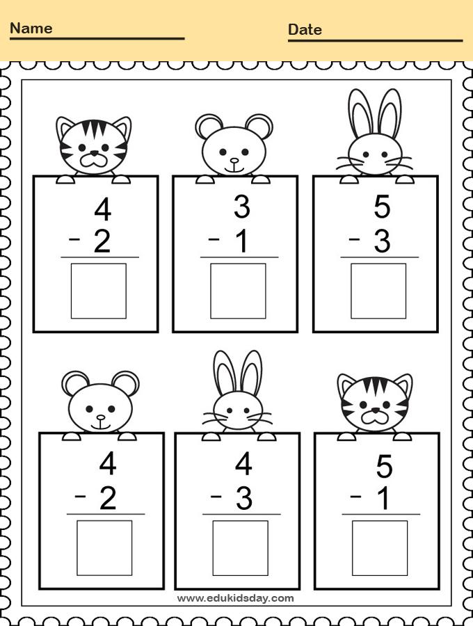 Subtracting Math Practice Worksheet for Kindergarten