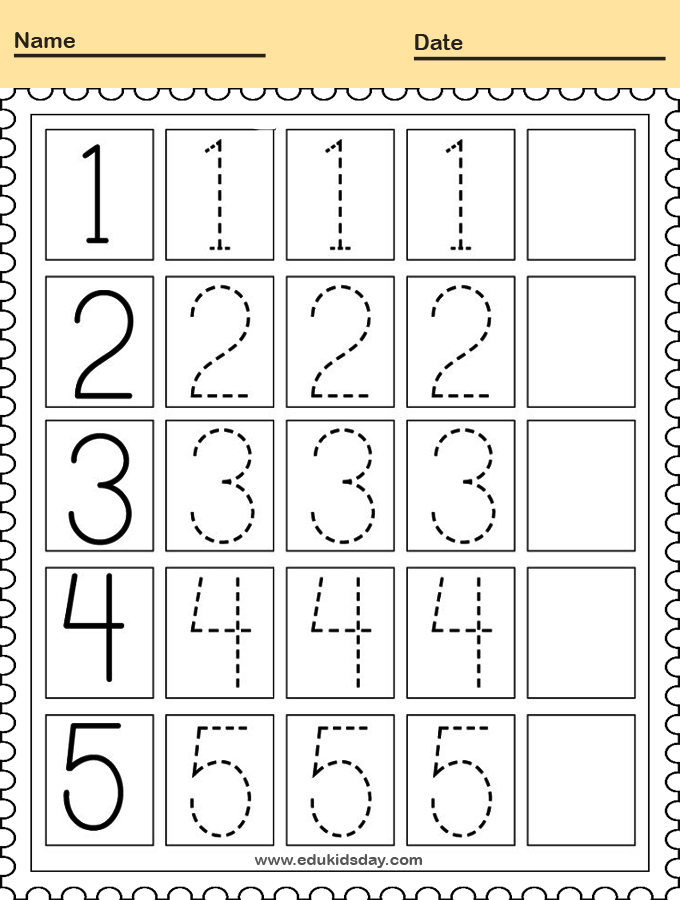 Traceable Numbers Worksheet for Kindergarten